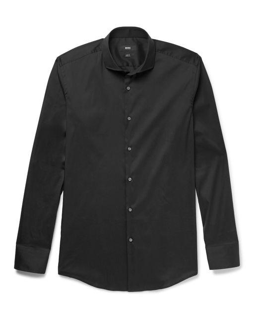 Boss black jason slim fit cutaway collar stretch cotton for Hugo boss jason shirt