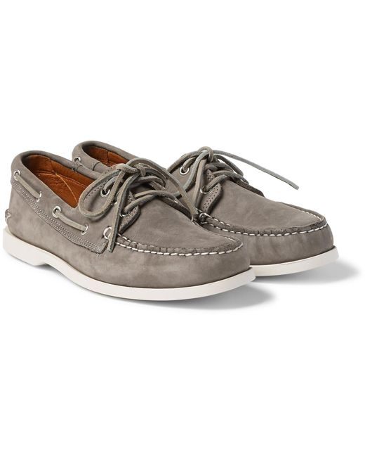 Quoddy - Gray Downeast Nubuck Boat Shoes for Men - Lyst