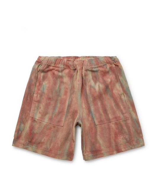 Stussy Logo-embroidered Tie-dye Cotton-twill Shorts for men