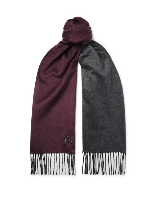 Canali Multicolor Reversible Fringed Silk And Cashmere-blend Scarf for men