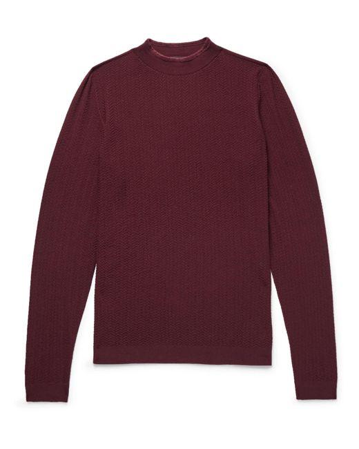 Giorgio Armani - Purple Herringbone Virgin Wool-blend Sweater for Men - Lyst
