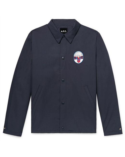 A.P.C. - Blue Saul Appliquéd Water-repellent Gabardine Coach Jacket for Men - Lyst