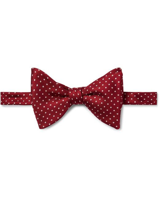 Turnbull & Asser - Red Pre-tied Pin-dot Silk-faille Bow Tie for Men - Lyst