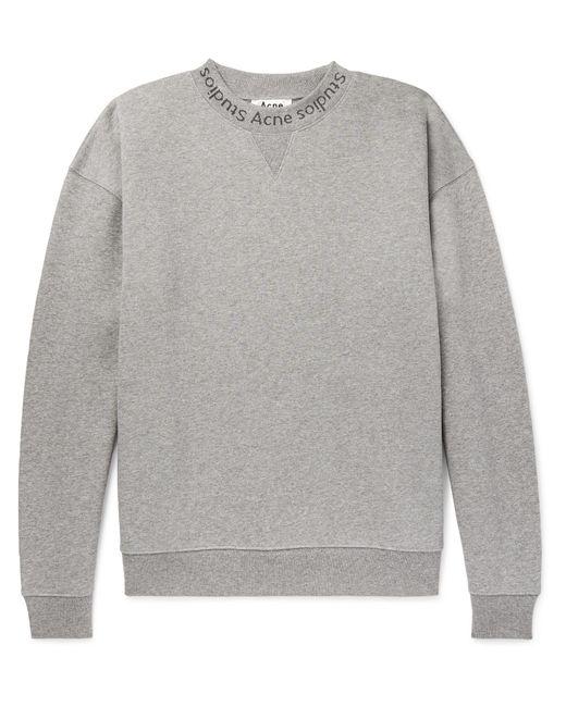 Acne - Gray Flogho Logo-print Mélange Fleece-back Cotton-jersey Sweatshirt for Men - Lyst
