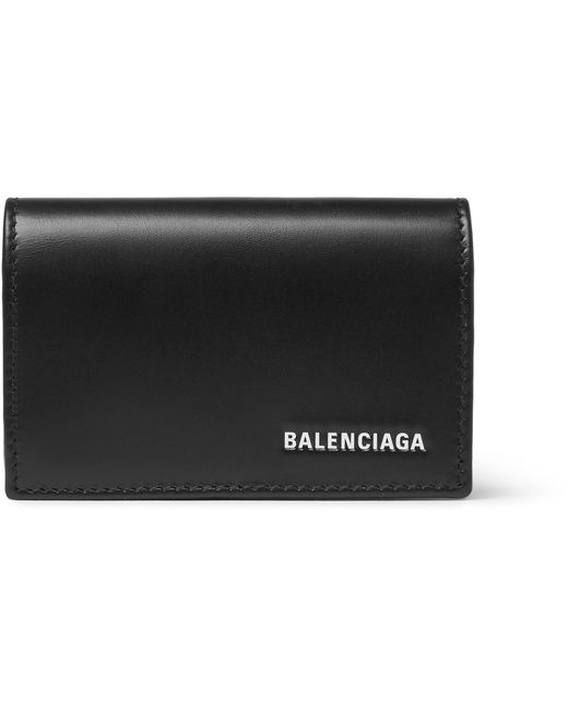 Balenciaga - Black Logo-print Leather Cardholder for Men - Lyst