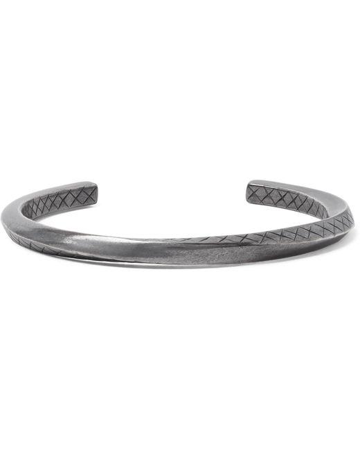 Bottega Veneta | Metallic Intrecciato Oxidised Sterling Silver Cuff for Men | Lyst
