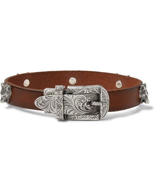 Gucci - Brown Men's Feline Head Leather Buckle Bracelet for Men - Lyst