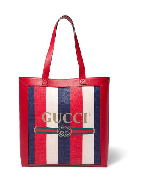 2f43fabece5e Gucci - Red Leather-trimmed Logo-print Striped Canvas Tote Bag for Men ...