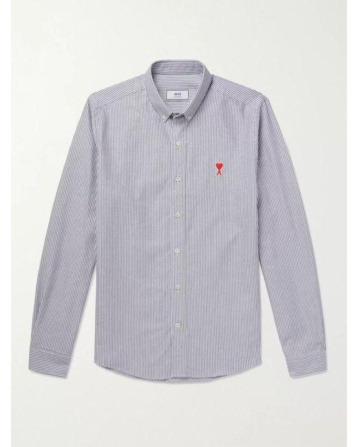 AMI White Button-down Collar Logo-appliquéd Striped Cotton Shirt for men