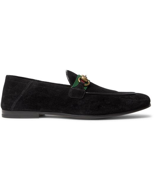 Gucci Black Brixton Horsebit Webbing-trimmed Collapsible-heel Suede Loafers for men