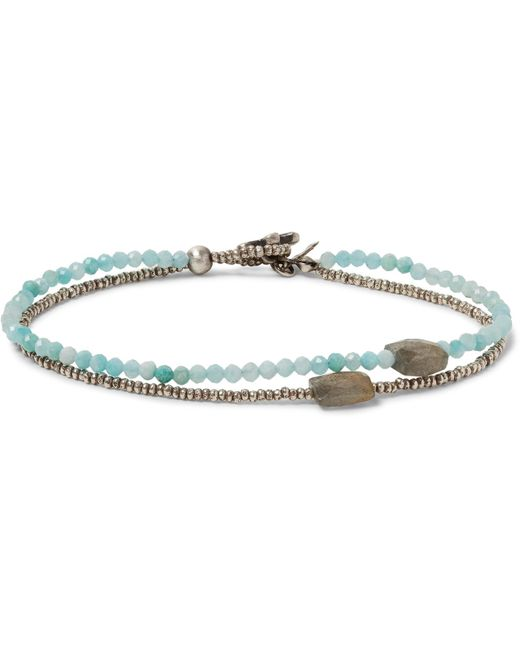 Peyote Bird - Metallic Sterling Silver, Amazonite And Quartz Bracelet for Men - Lyst
