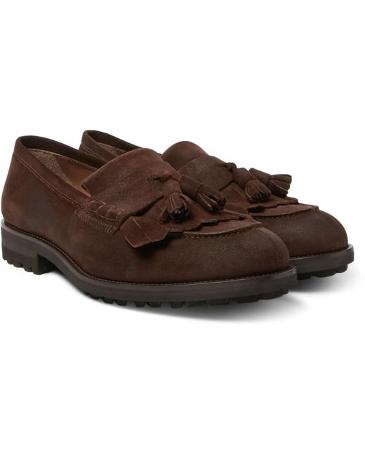 Brunello Cucinelli - Brown Suede Tasselled Loafers for Men - Lyst