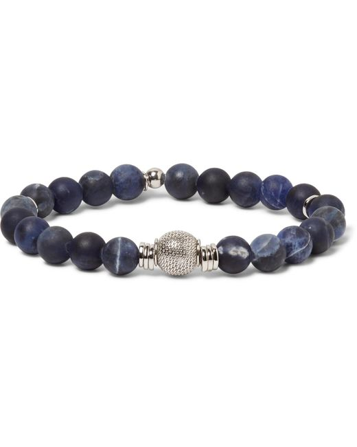 Tateossian - Blue Stonehenge Sodalite Bead And Sterling Silver Bracelet for Men - Lyst