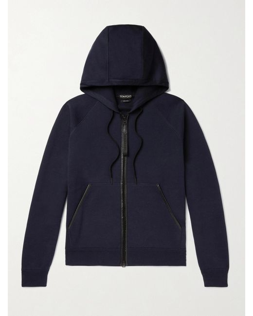 Tom Ford Blue Leather-trimmed Double-faced Cotton-blend Jersey Zip-up Hoodie for men