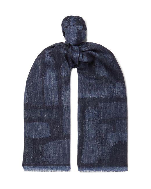 Johnstons Blue Mélange Wool, Silk And Linen-blend Scarf for men