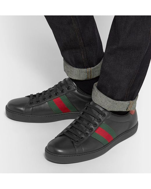 b9705ba2 Gucci Ace Leather Sneakers in Black for Men - Save 57% - Lyst