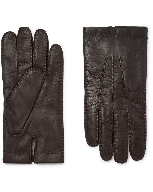 Dents Brown Shaftesbury Touchscreen Cashmere-lined Leather Gloves for men