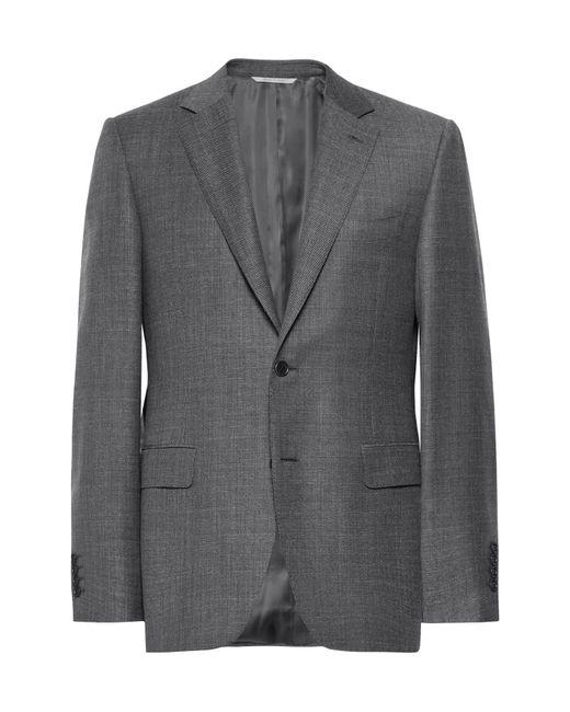 Canali - Gray Dark-grey Slim-fit Mélange Wool-sharkskin Suit Jacket for Men - Lyst
