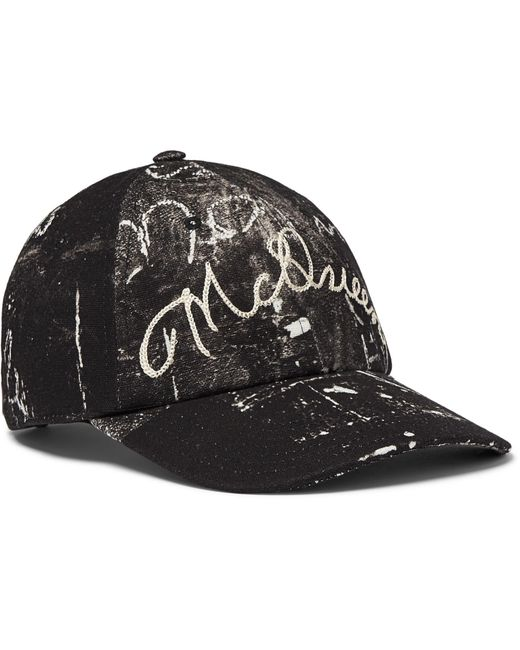 ea8c9c5816a Alexander McQueen - Black Leather-trimmed Embroidered Printed Cotton-canvas Baseball  Cap for Men