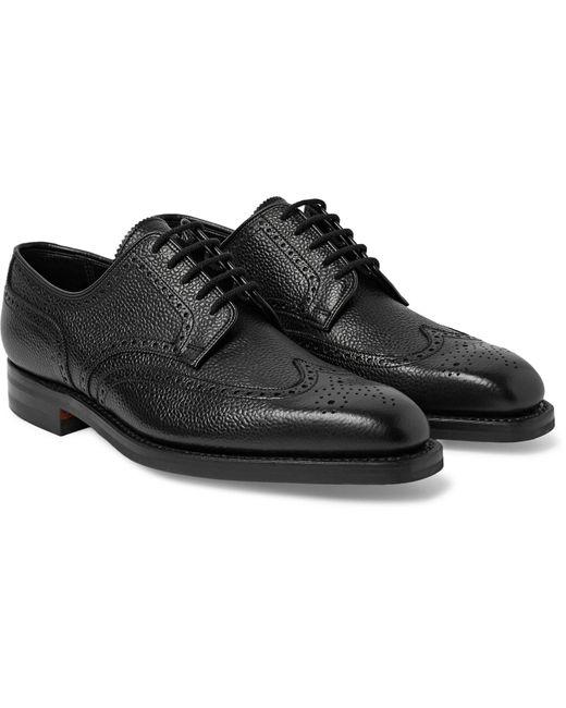 George Cleverley Black Henry Pebble-grain Leather Wingtip Brogues for men