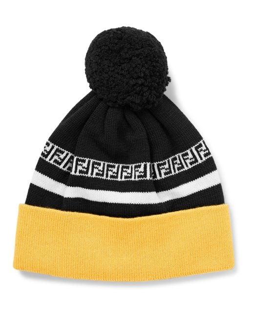 53fa16cbb46ec Lyst - Fendi Logo-intarsia Ribbed Virgin Wool Beanie in Black for Men