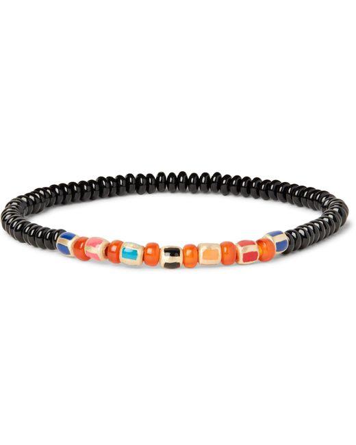 Luis Morais | Orange Glass Bead Enamelled Gold Bracelet for Men | Lyst