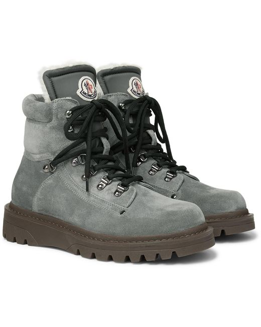 Moncler Gray Egide Shearling-lined Suede Boots for men