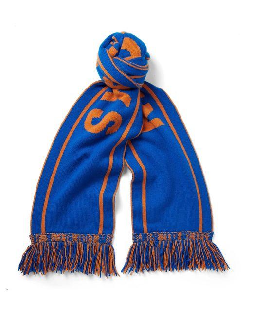 The Elder Statesman - - Nba Knicks Fringed Intarsia Cashmere Scarf - Blue for Men - Lyst