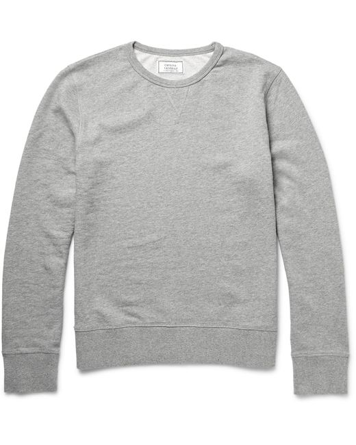Officine Generale Gray Mélange Loopback Cotton-jersey Hoodie for men