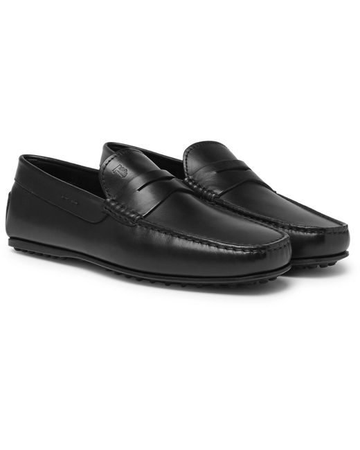 Tod's Black City Gommino Leather Penny Loafers for men