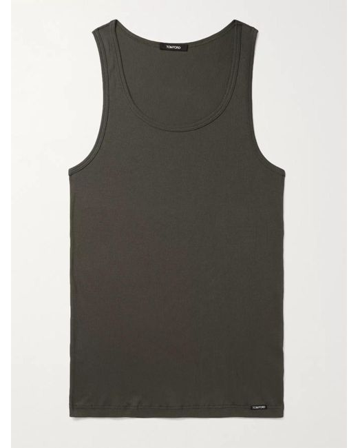 Tom Ford Green Ribbed Cotton And Modal-blend Jersey Tank Top for men
