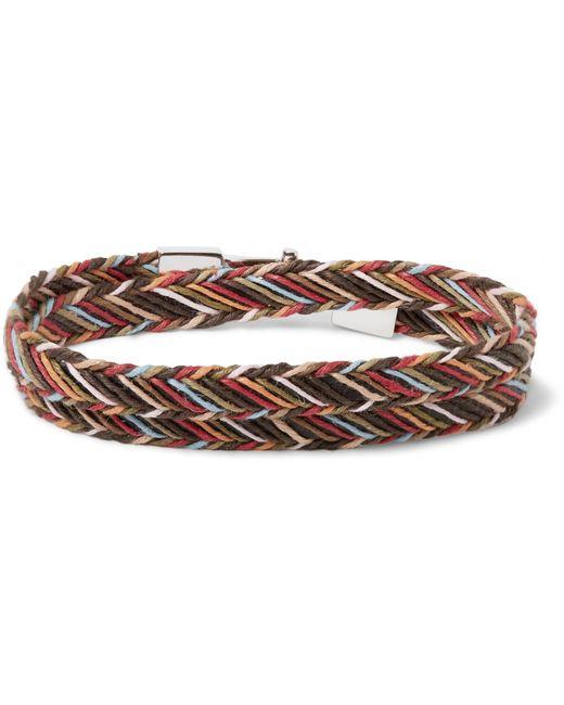 Paul Smith - Brown Woven Cotton Wrap Bracelet for Men - Lyst