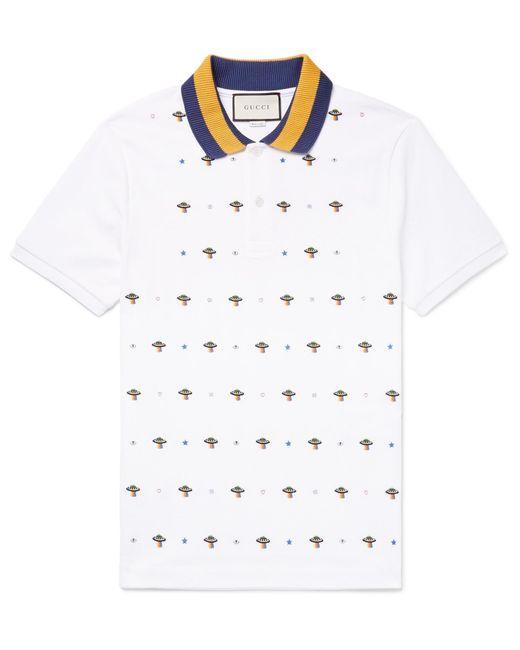 6694e1ecf Gucci - White Slim-fit Ufo-embroidered Stretch-cotton Piqué Polo Shirt for  ...