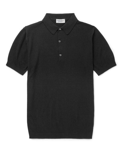 John Smedley Black Roth Knitted Sea Island Cotton Polo Shirt for men