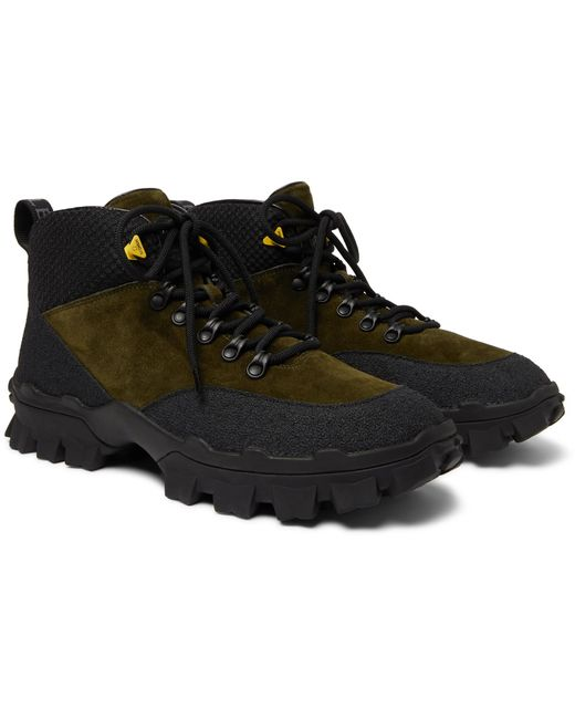 Moncler Green Hector Suede And Rubber Hiking Boots for men