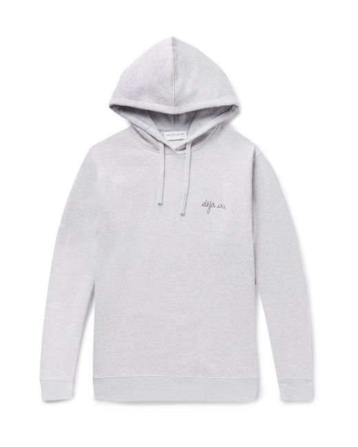 Maison Labiche - Gray Embroidered Mélange Fleece-back Cotton-jersey Hoodie for Men - Lyst