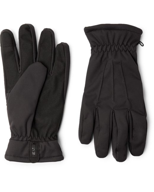Hestra Black Duncan Touchscreen Fleece-lined Shell Gloves for men