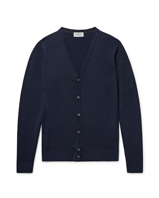 John Smedley - Blue Petworth Merino Wool Cardigan for Men - Lyst