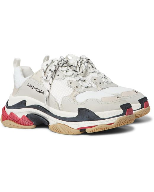 Women's White Triple S Leather And Mesh Sneakers