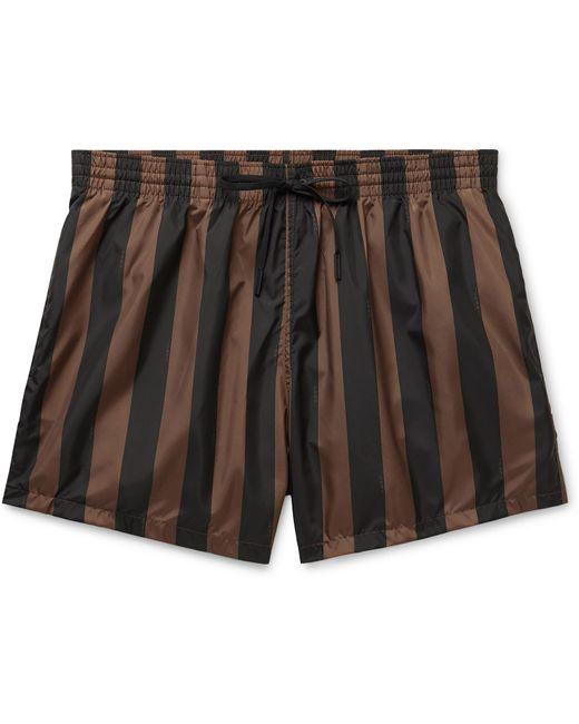 Fendi Brown Slim-fit Mid-length Logo-print Striped Swim Shorts for men
