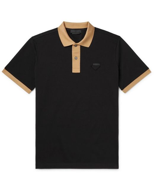 Prada Black Logo-appliquéd Slim-fit Contrast-tipped Cotton-piqué Polo Shirt for men