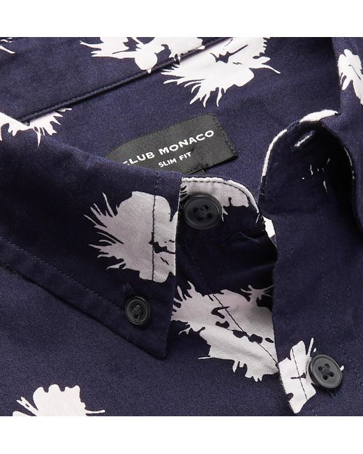 dd6d22f825f ... Club Monaco - Blue Slim-fit Button-down Collar Printed Cotton Shirt for  Men