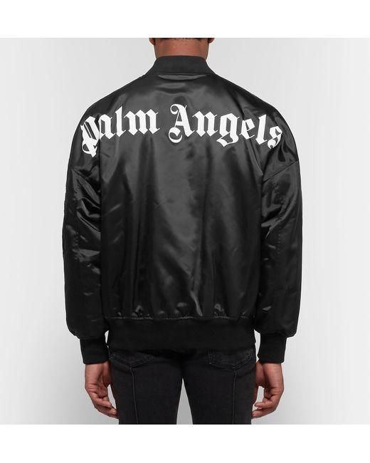 in Lyst Logo Angels Jacket Black Shell for Men print Palm Bomber Hara0n1w6q