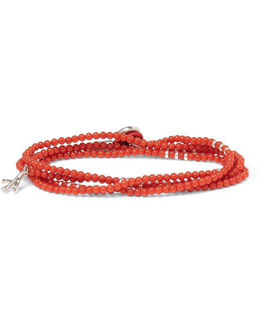 Isaia - Red Saracino Coral Silver Wrap Bracelet for Men - Lyst