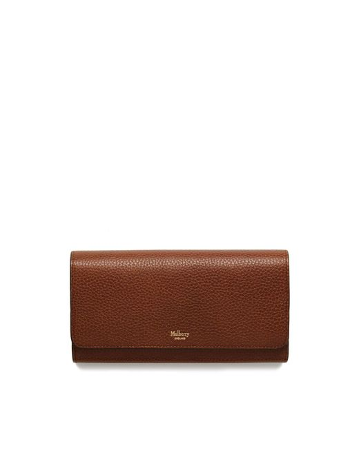 Mulberry - Brown Continental Wallet In Oak Natural Grain Leather - Lyst
