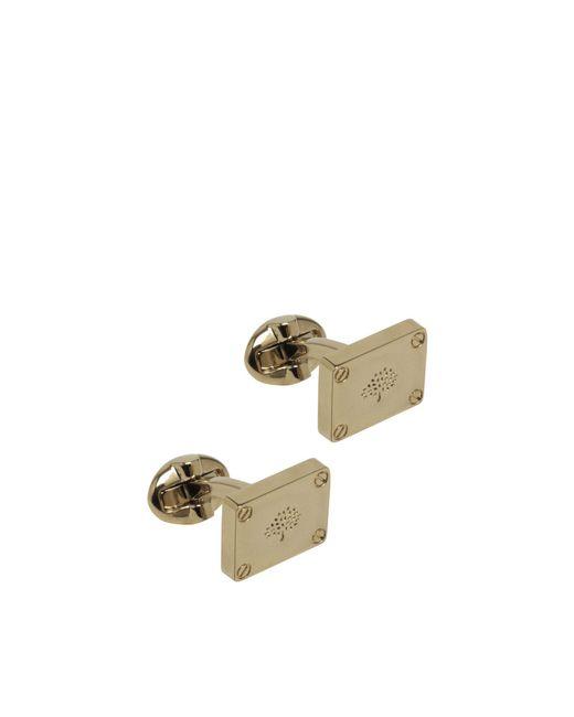 Mulberry Metallic Rectangular Plaque Cufflinks In Soft Gold Metal for men