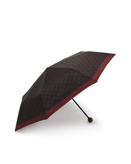 Mulberry Telescopic Umbrella In Black Tree Motif