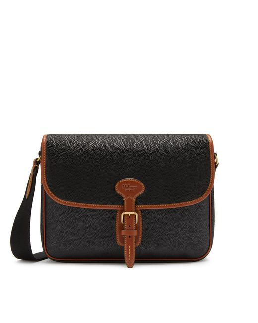 Mulberry - Small Heritage Messenger In Black And Cognac Scotchgrain for Men - Lyst