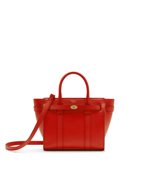 Mulberry - Mini Zipped Bayswater In Hibiscus Red Small Classic Grain - Lyst
