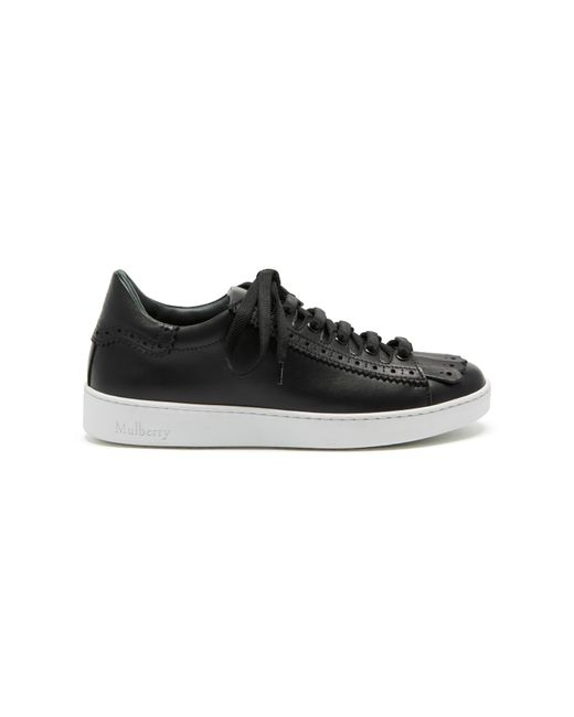 Mulberry Jump Fringe Sneaker In Black Smooth Calf